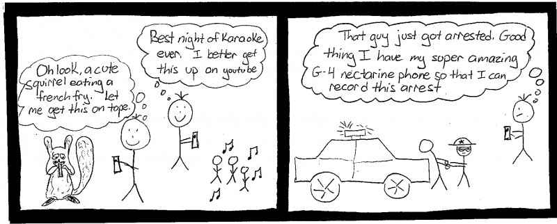 comic strip illustrating person using a smartphone to record karaoke at night and then in the next frame using a smartphone to record police encounters