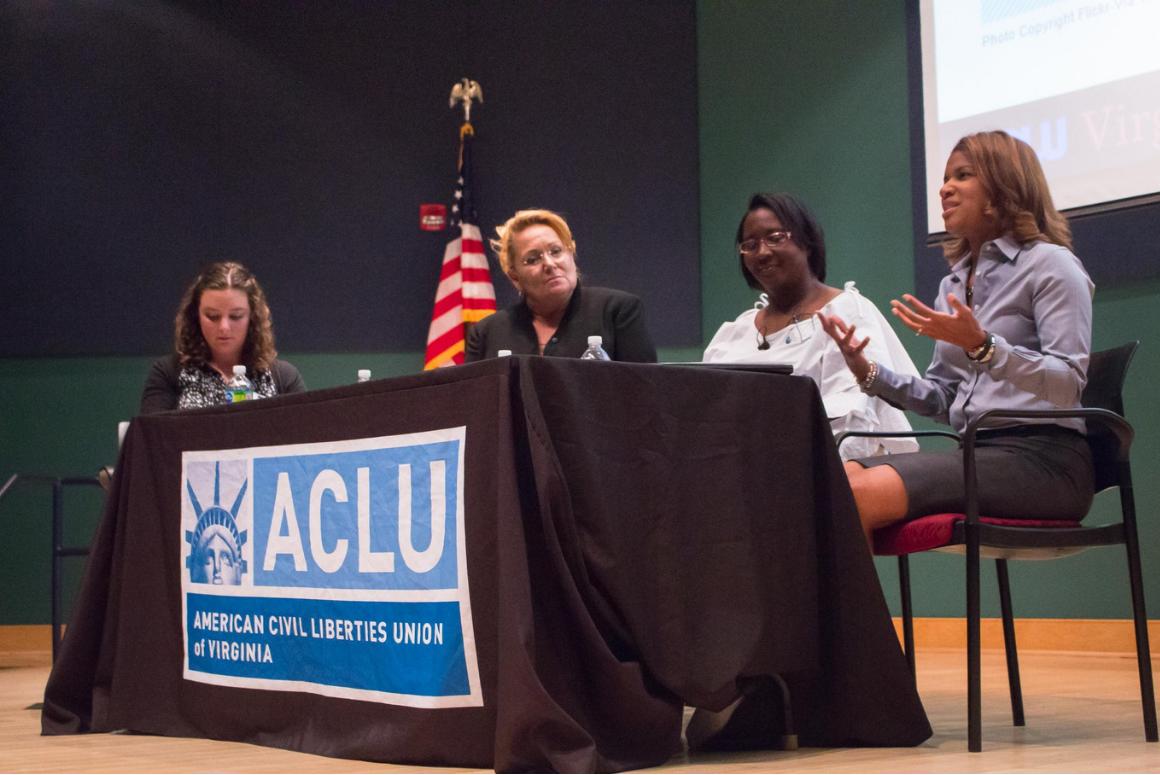 Panelists Kemba Smith, Angela Antoine, and Heidi Christiansen spoke at the 2018 ACLU-VA Annual Meeting