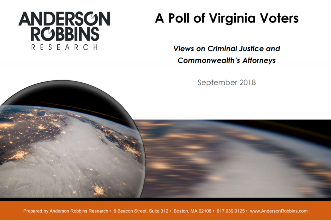 first page of Anderson Robbins Research Poll of Virginia voters on Criminal Justice reform