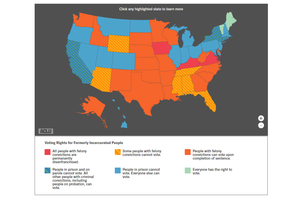 a map of felony disenfranchisement in AMerica