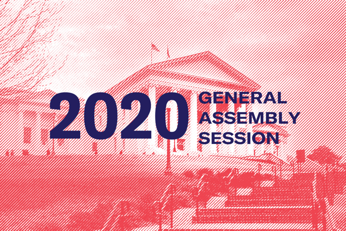 """banner that says """"2020 General Assembly Session"""" with the Capitol in the background"""