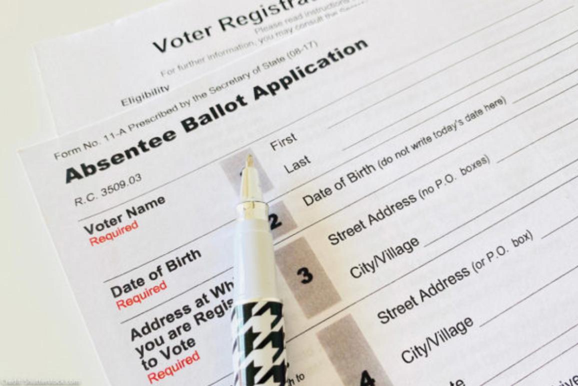 stock photo of an absentee ballot application