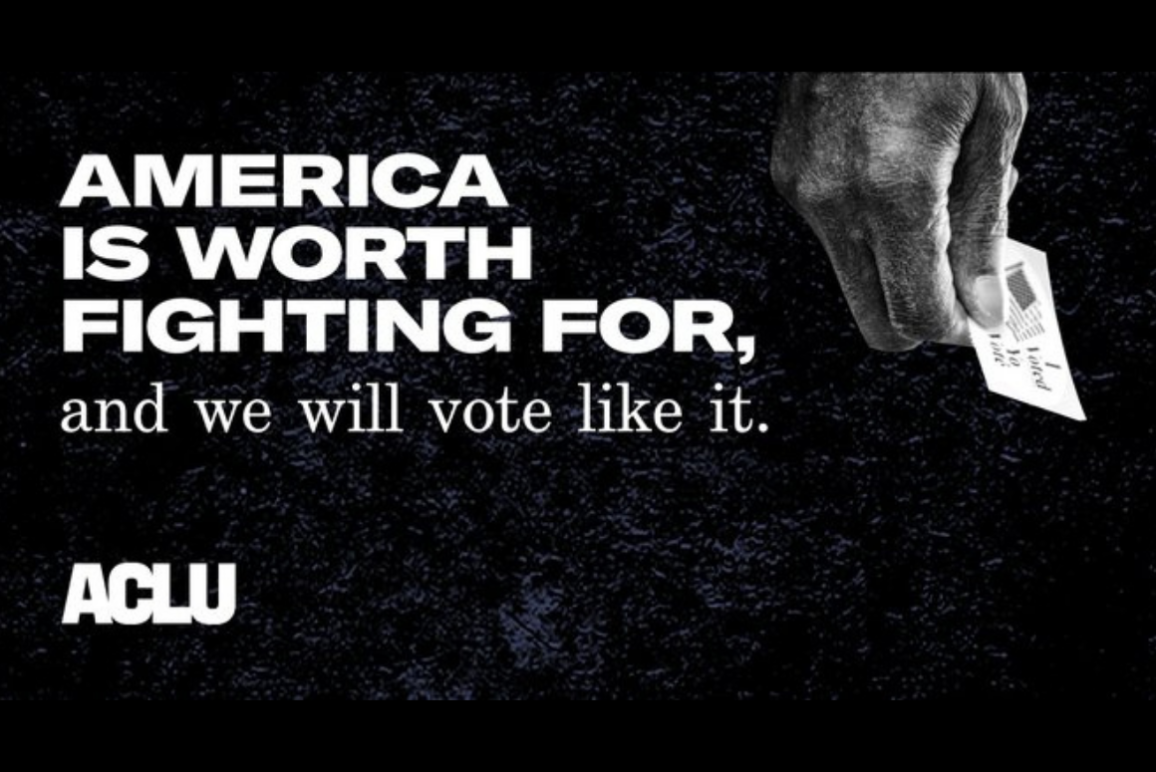 "graphic with a black-dark navy texture background with the text ""america is worth fighting for, and we will vote like it."""