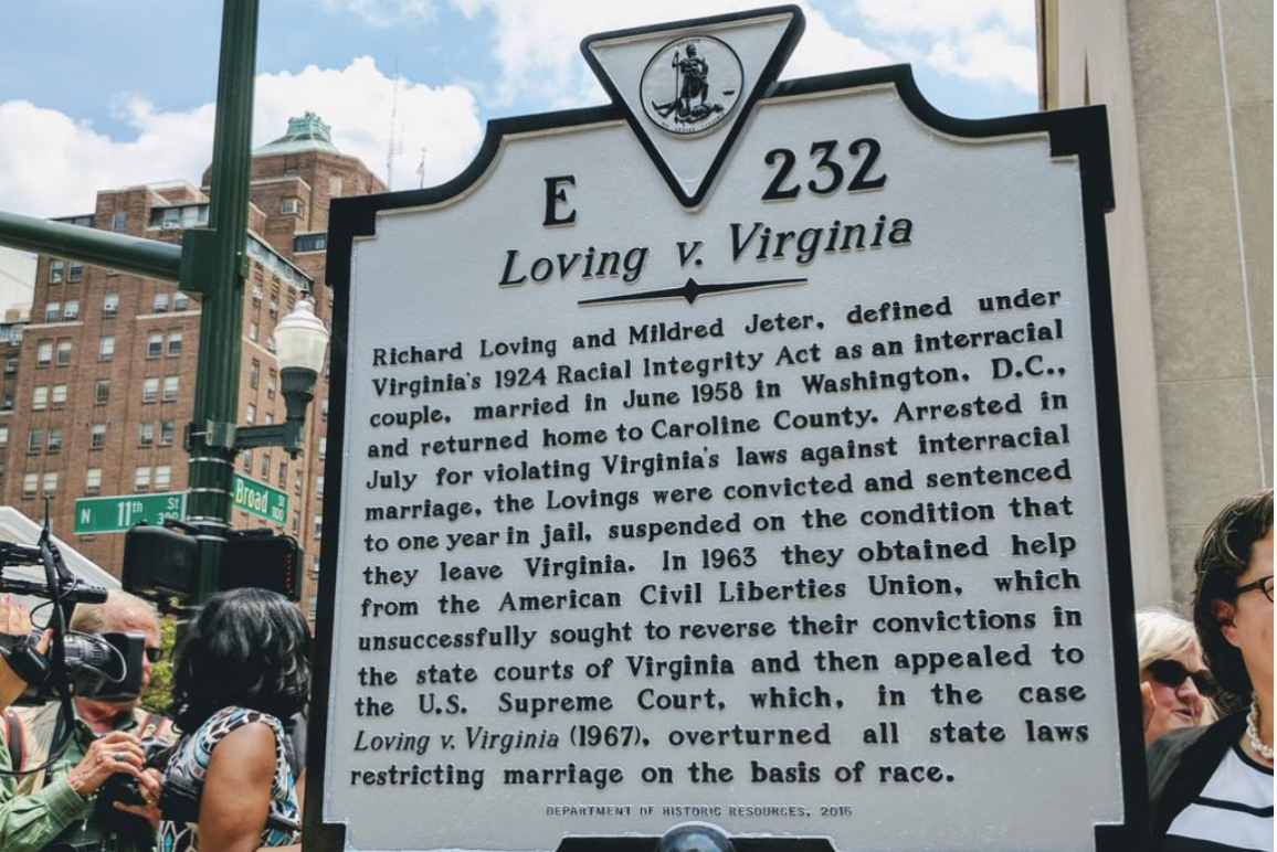 Photo of the historic marker for Loving v. Virginia