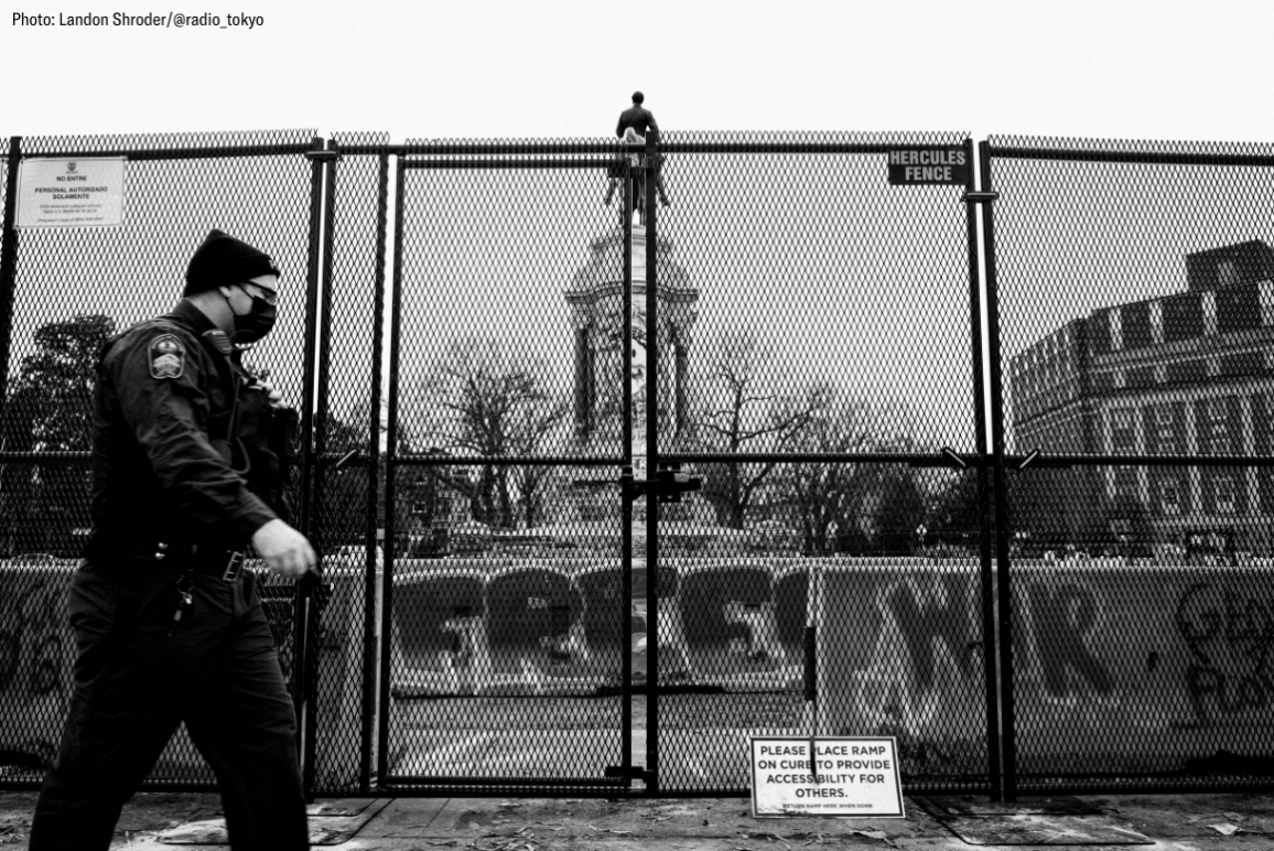 black and white photo of the reclaimed Marcus David-Peters Circle all fenced up.