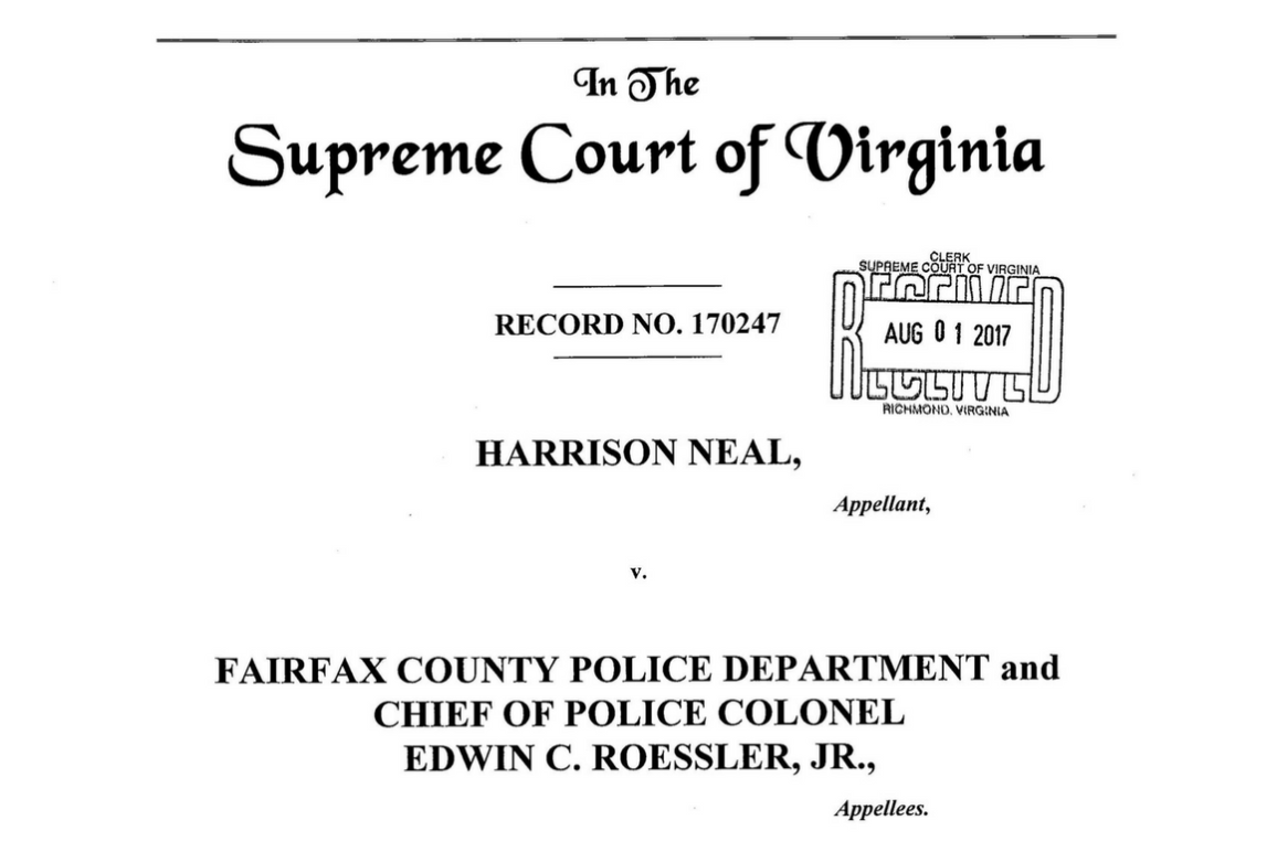 Cover page of our brief in Neal v. Fairfax County Police Department