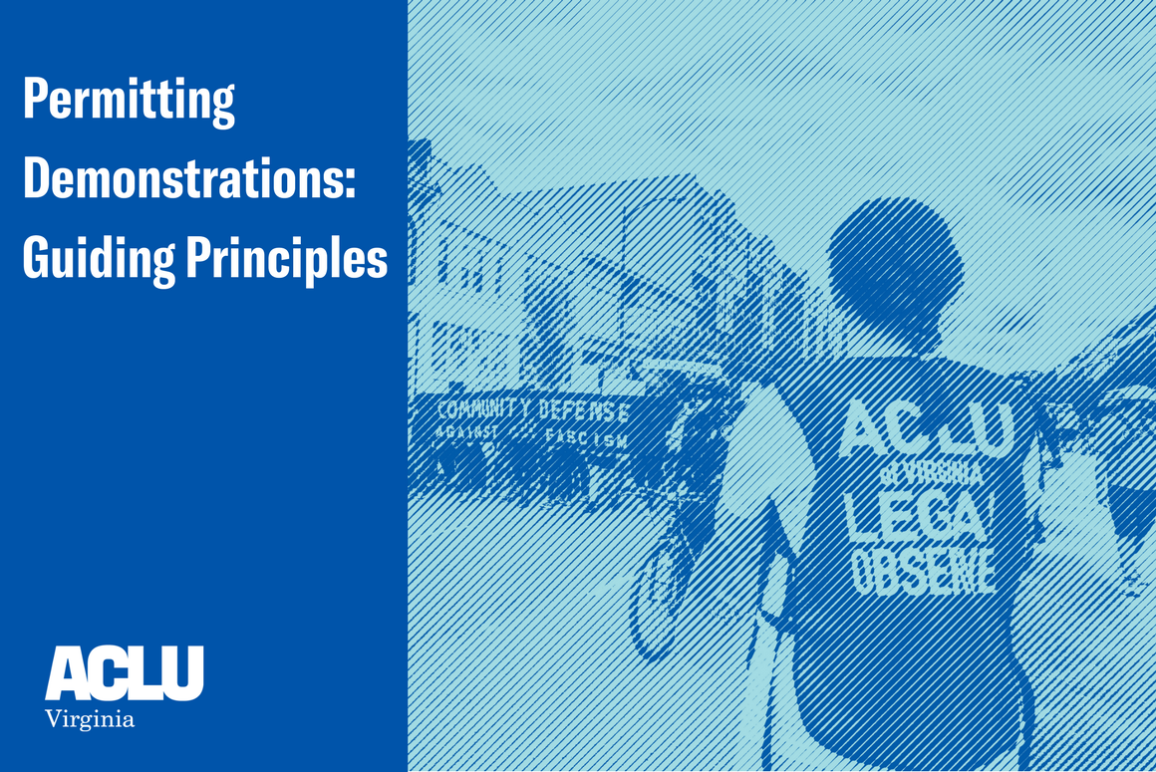 "Front cover of our white paper entitled ""Permitting Demonstrations: Guiding principles"" with an engraved picture of our legal observer monitoring a protest in Richmond"