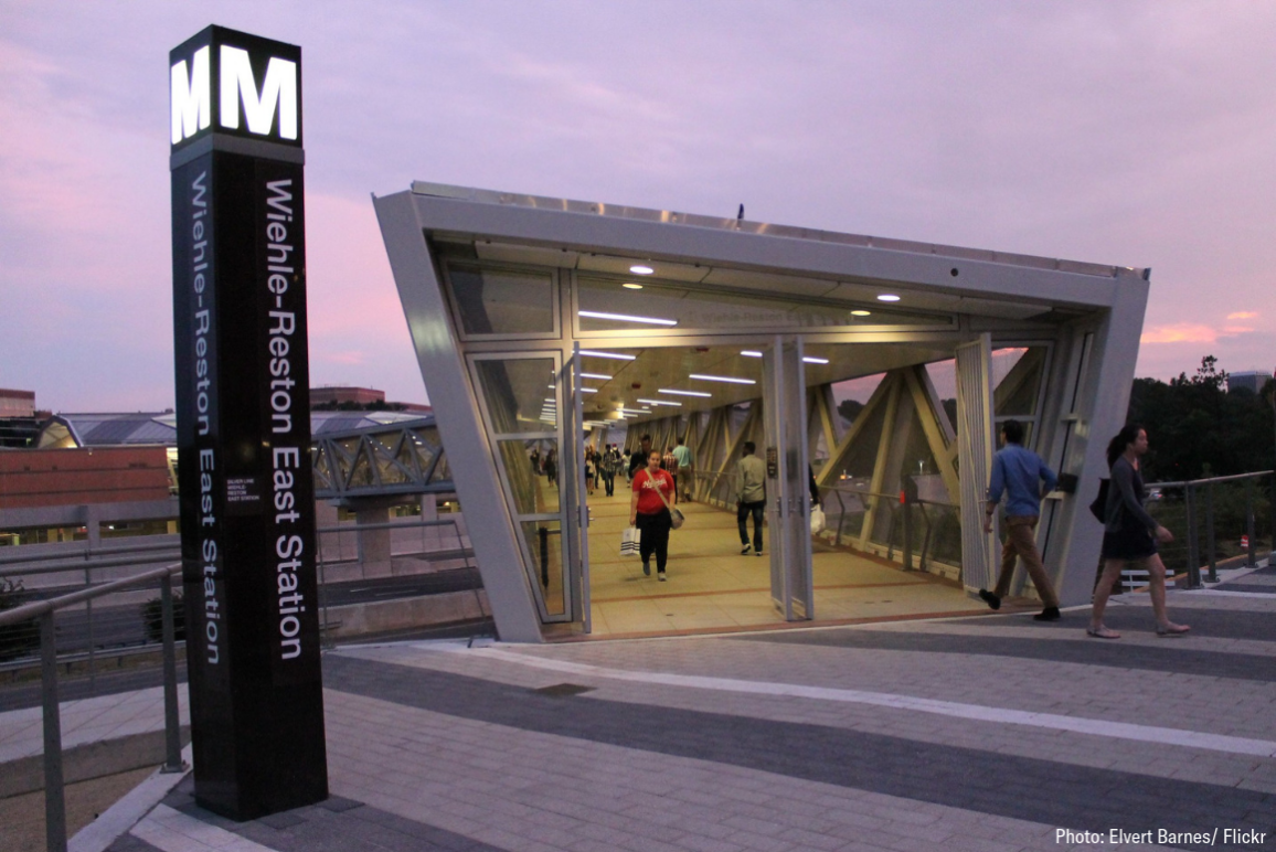 WMATA Wiehle-Reston East SILVER LINE Station at 1862 Wiehle Avenue in Reston VA on Friday night, 1 August 2014 by Elvert Barnes Photography