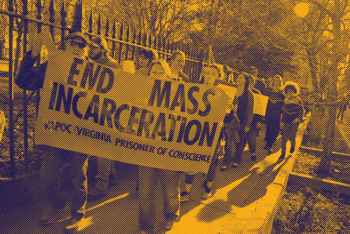 "engraved photo of a group of protesters holding a sign that says ""end mass incarceration"""
