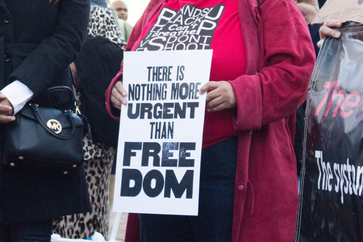 "a protest sign that says ""there's nothing more urgent than freedom"""