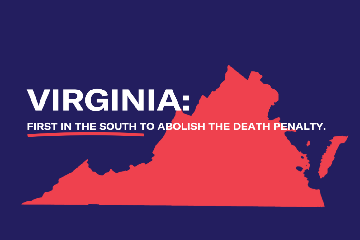 """A graphic with a photo of Virginia and the words """"Virginia: Firstin the South to Abolish the Death Penalty."""""""
