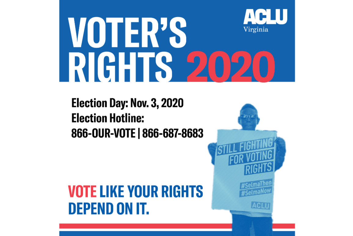 "graphic that says ""Voter's Rights 2020"""