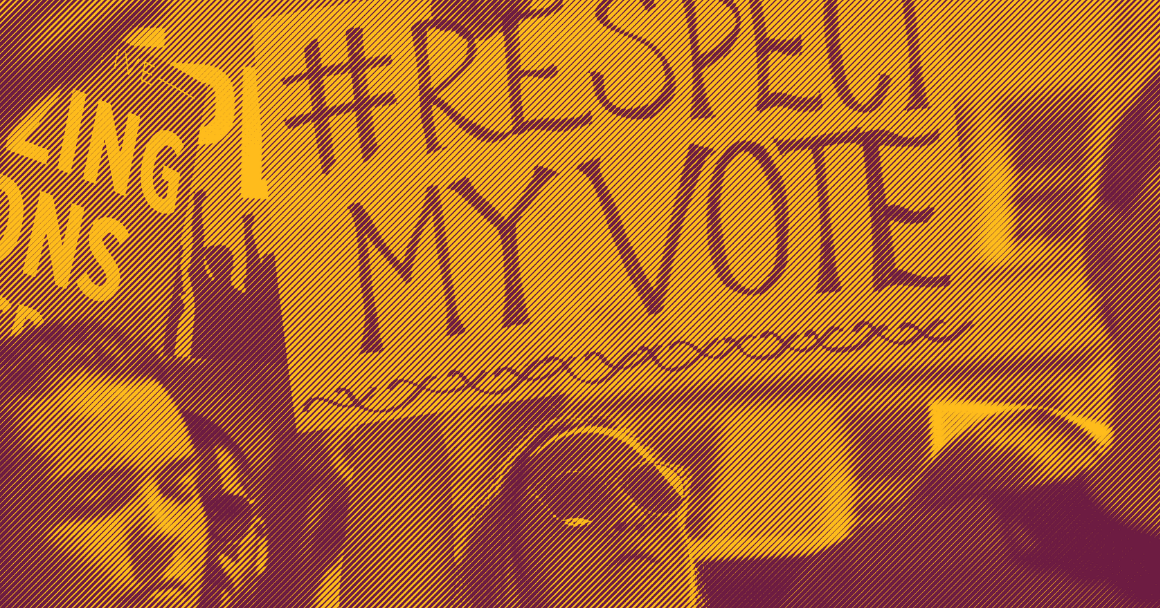 """A white woman holding a sign that says """"hashtag Respect My Vote"""""""