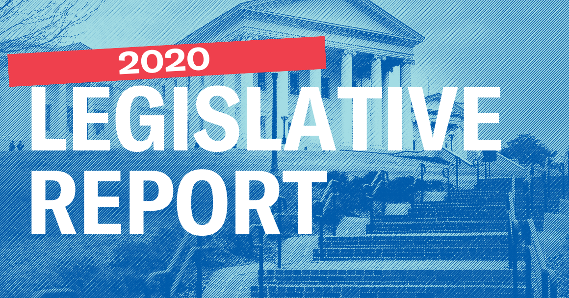 "Virginia Capitol in the background with the text ""2020 Legislative Report"" in front"