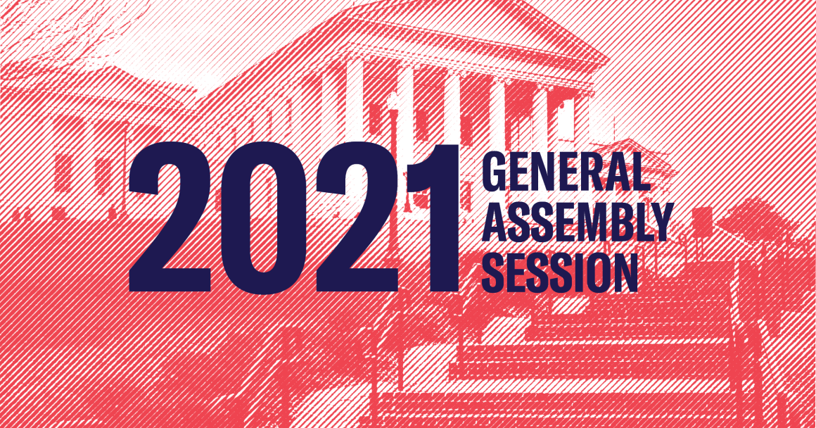 red background of the Virginia Capitol with the text 2021 General Assembly session